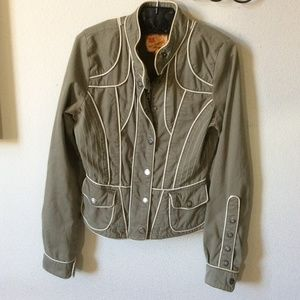 Anthropologie Jackets & Coats - Anthropologie Twill Twenty Two Piped Green Jacket